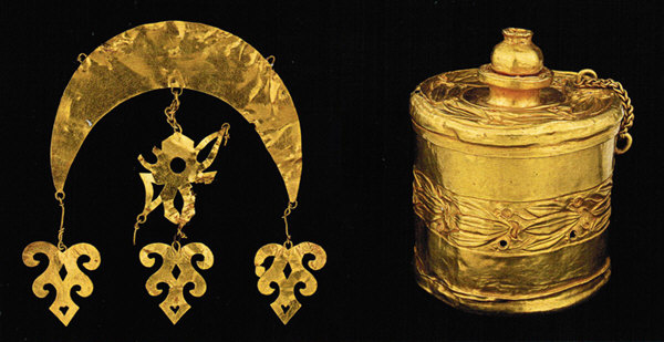 4. kép Fejdíszre varrható díszítőelem. 5. kép Arany doboz fedelén gránátalmával